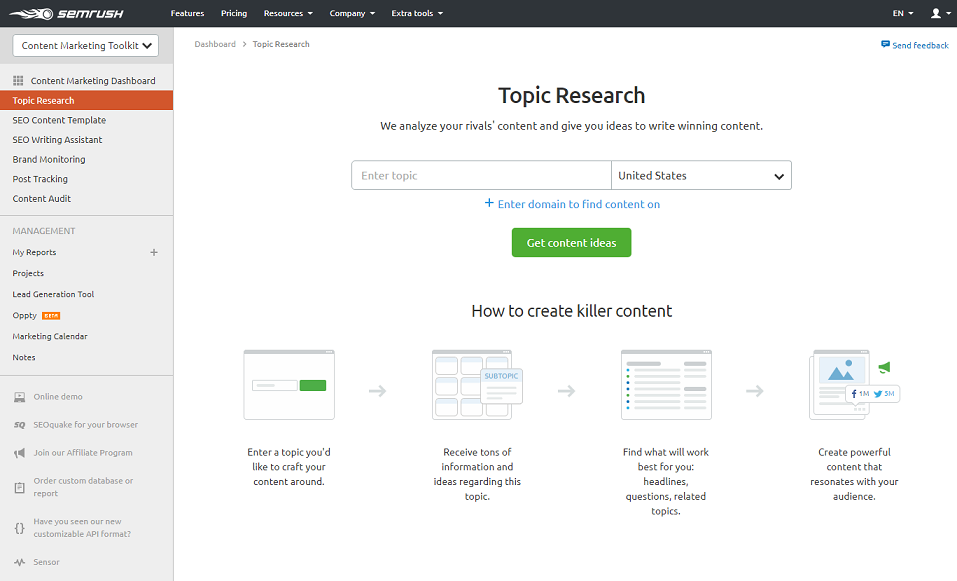 SEMrush Topic Research Tool