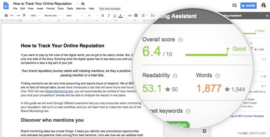SEMrush Writing Assistant and Google Docs Integration