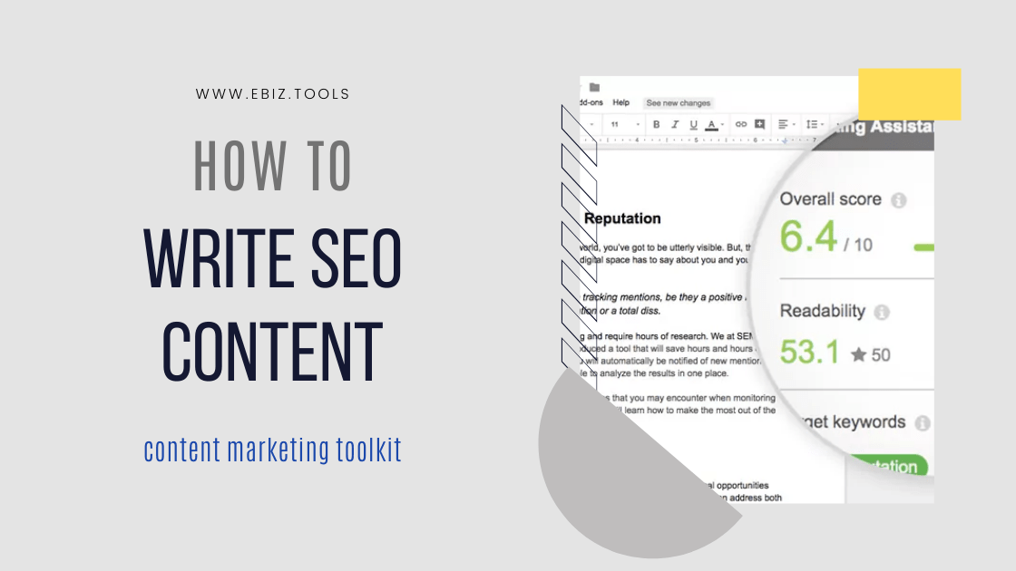 How to write SEO Content. content marketing toolkit