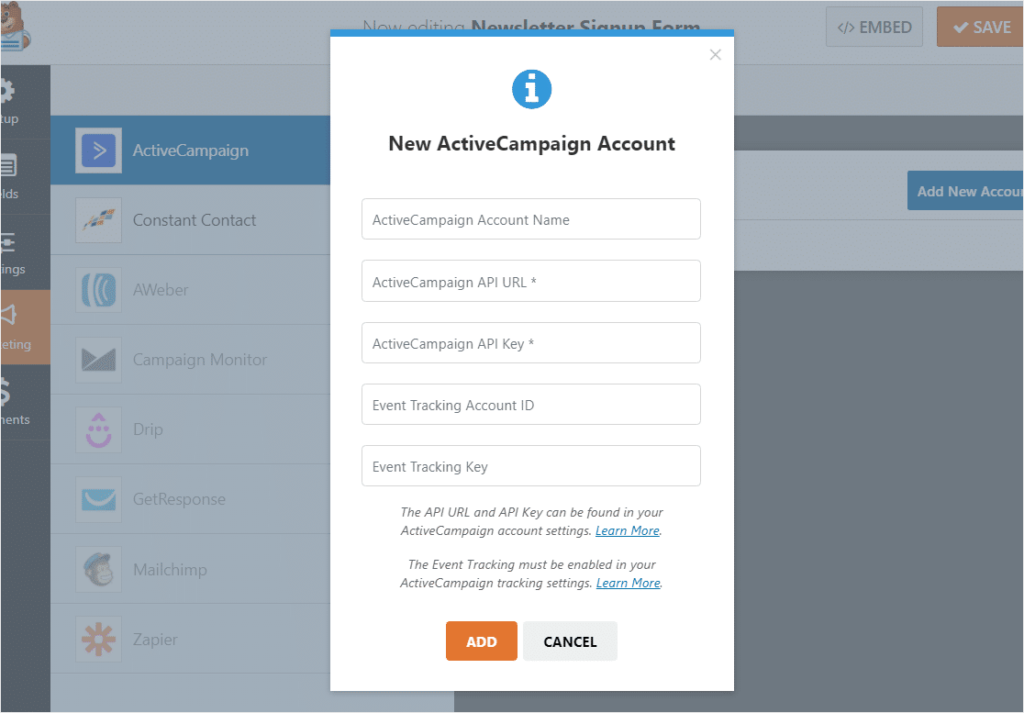 Fill out the form to connect WPForms to your ActiveCampaign account