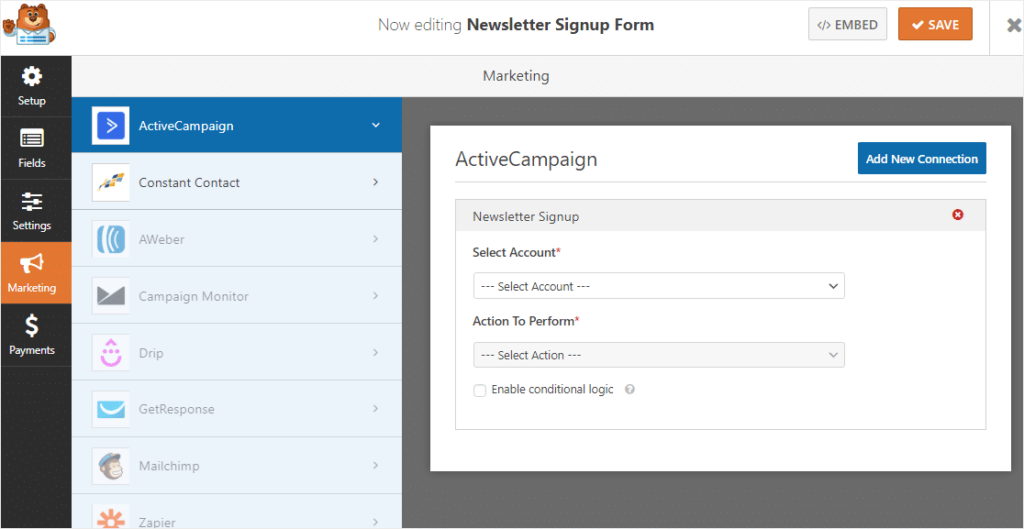 Selecting which actions you want taken when a user fills out the form