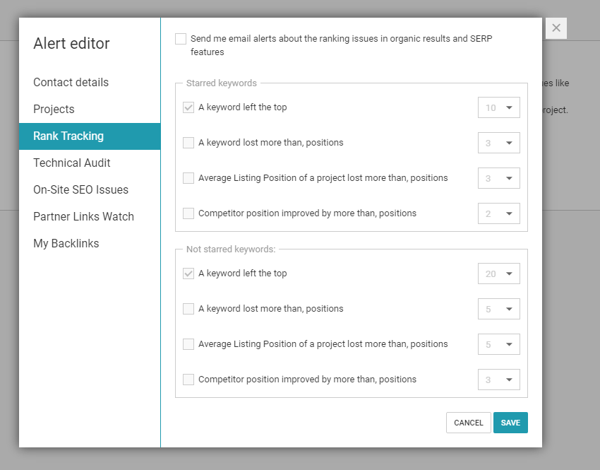WebCEO Alert editor. Easily create email rank tracking alerts
