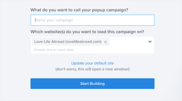 Name your popup campaign