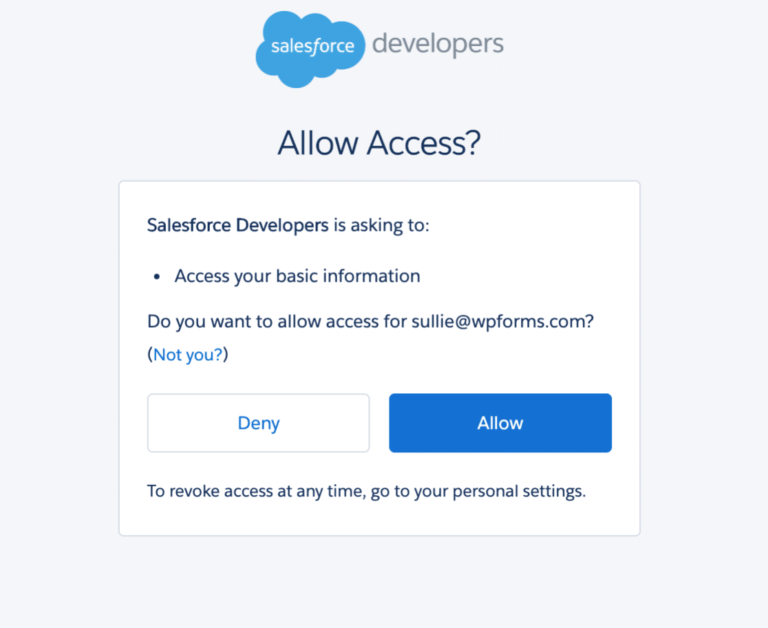 Allow access on Salesforce as the final step