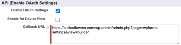 Paste the Callback URL in Salesforce