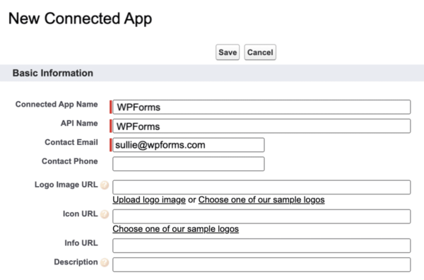 Adding basic information to connect an external app on Salesforce