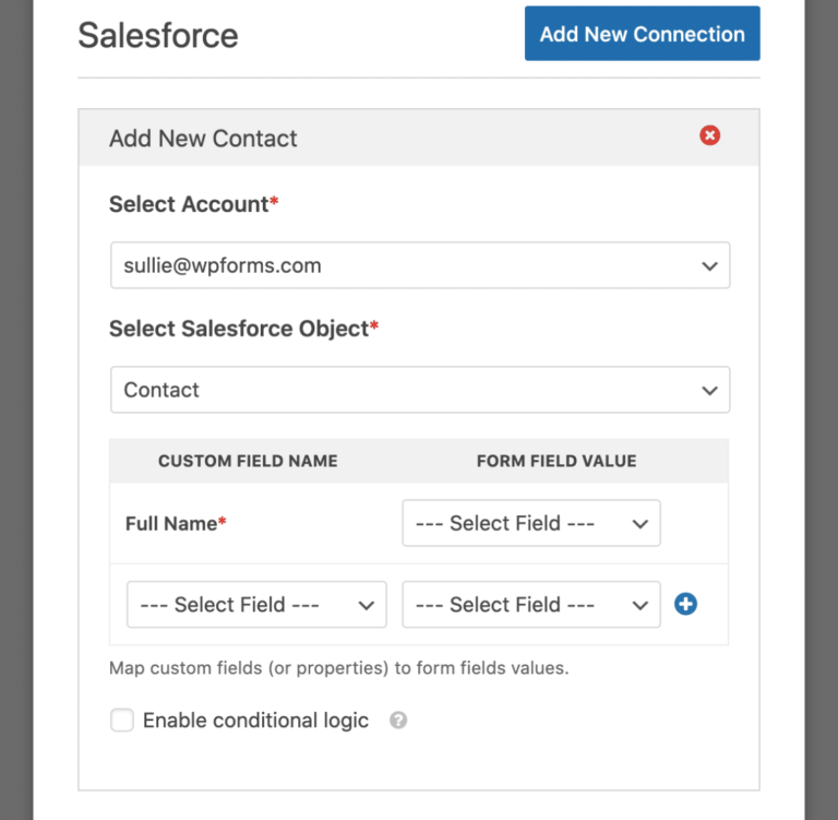 Add basic information and choose which form fields to map with Saleforce data fields