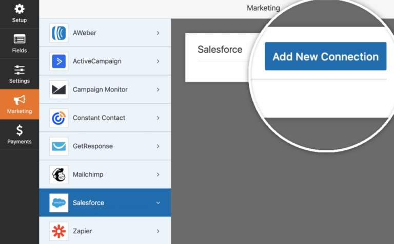 Choose Marketing in WPForms and add a new connection to Salesforce