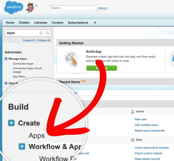 Creating an app in Salesforce