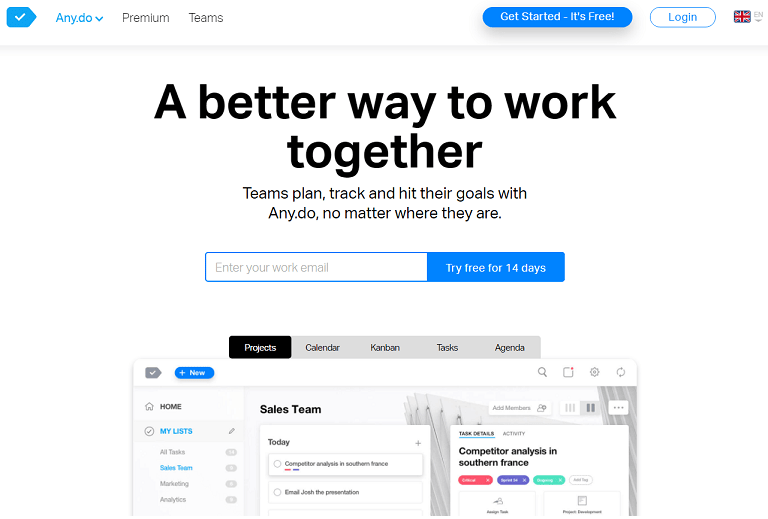 A better way to work together. Teams plan, track and hit their goals with Any.do, no matter where they are
