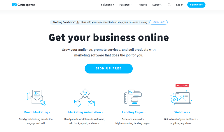 Grow you business online. Email marketing, marketing automation, webinars, landing pages