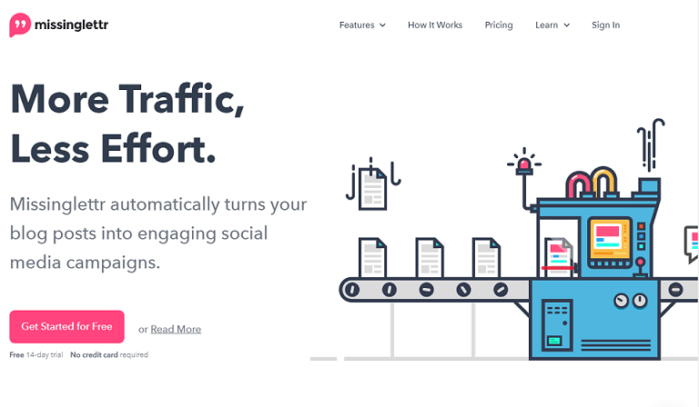 More traffic, less effort. Missinglettr turns your blog posts into engaging social media campaigns.