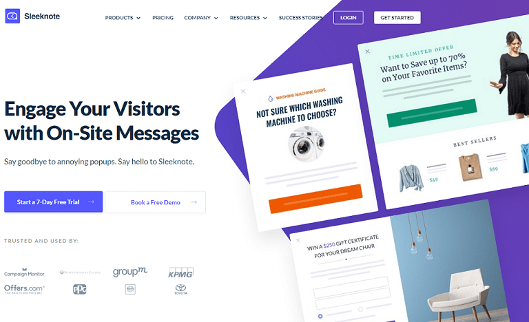 Engage your visitors with on-site messages