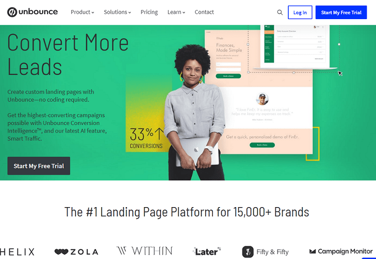 Convert more leads. The number one landing page platform for over fifteen thousand brands